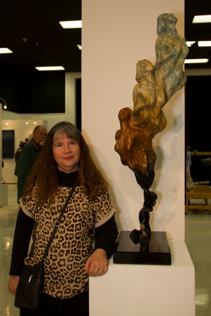 Artist standing with Quest 11, Best of Show and First Place Award Photo by Barbara Pickles